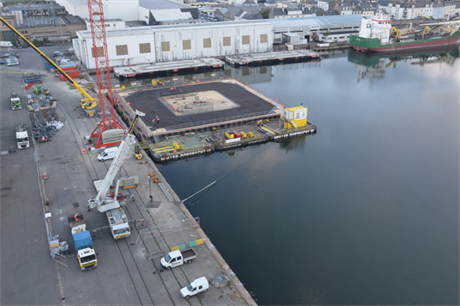 A recent image from Ideol's live camera feed of the floatgen platform under construction