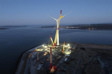 Construction of the MHI 7MW turbine has been completed at Hunterston, Scotland