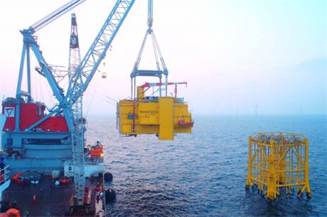 The Meerwind transformer being installed