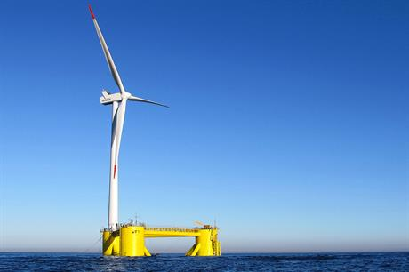WindFloat's prototype floating foundation with 2MW turbine; new project will use 8MW-plus machines