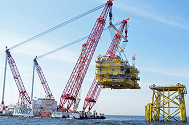 The Nordsee Ost substation weighs 1,633 tonnes