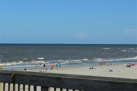 A rendering showing how a project on OCS would look from Tybee Island Pier, Georgia