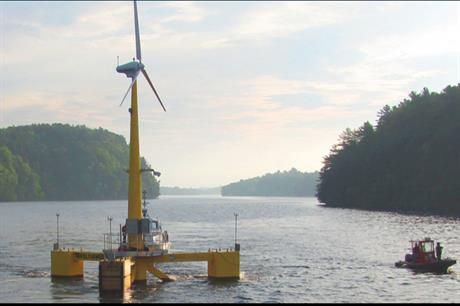 The University of Maine's prototype floating turbine off the coast of Maine