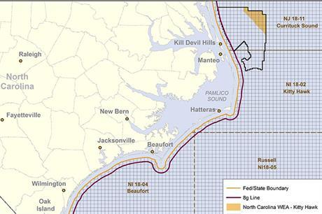 The Kitty Hawk zone (yellow) is located 44 kilometres off North Carolina's coast