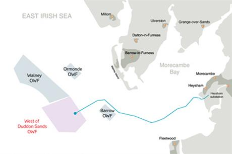 Siemens 3.6MW turbines are due to be installed at West of Duddon Sands