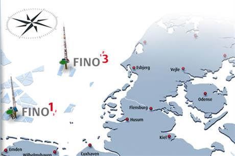 Fino 1 and 3 are in the North Sea, while Fino 2 is in the Baltic