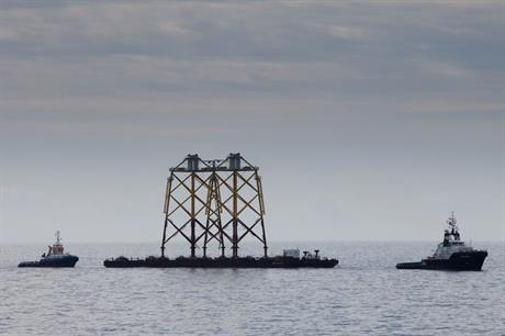 En route… A barge carrying two four-leg jackets is being towed by tug to the Ormonde site off the coast of Cumbria in the UK (pic: Vattenfall/Ben Barden)