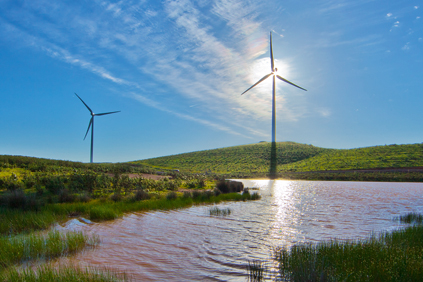 Gamesa 2MW turbine at the 244MW El Andevalo wind plant, Huelva province in Spain
