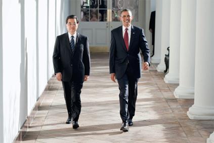 Presidents Hu Jintao and Barack Obama