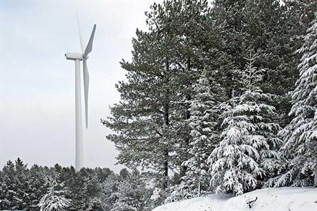 A winter view of a 1.5 MW General Electric turbine at the Falck Renewables San Sostene wind farm in Calabria, currently operating at 42 MW.