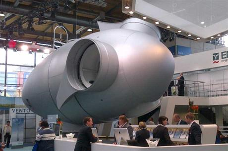 A scale model of the E-92 nacelle at the 2012 Hanover trade fair