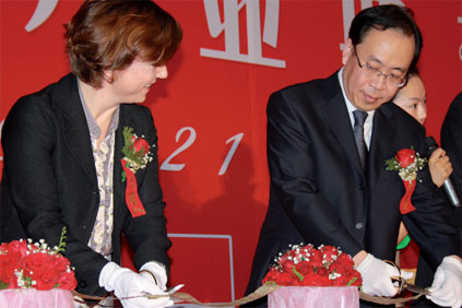 Karen Ellemann and Zhang Zong at the factory's opening ceremony at Wuquing, Tiangin