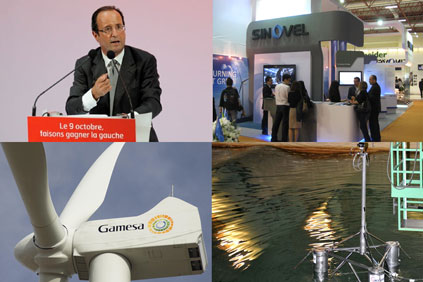Francois Hollande, a Sinovel trade stand at the Turkish wind fair, Acciona's floating platform,  Gamesa's 4.5MW turbine