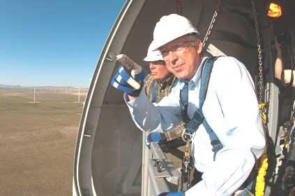 Interior secretary Ken Salazar visiting a Utah wind farm