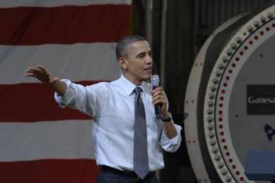 US president Barack Obama... speaking at the Fairless Hills plant in April last year  (pic Gamesa)