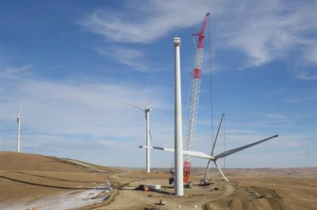 The Salkhit wind farm under construction