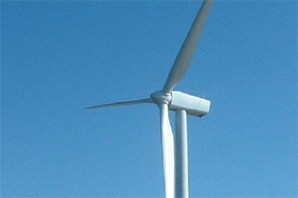 A Vestas 3MW turbine at the Robin Rigg wind farm
