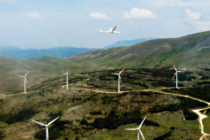 GE Energy 1.5 MW turbines at Enel Green Power's 7.5 MW Collarmele wind farm in the Italian region of Abruzzo