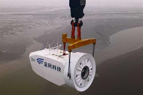 A Goldwind nacelle being installed at the Rudong intertidal wind farm in eastern China
