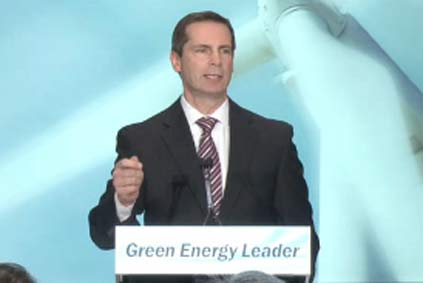 "Ontario premier Dalton McGuinty: ""Ontario will be the place to be for green energy jobs"""