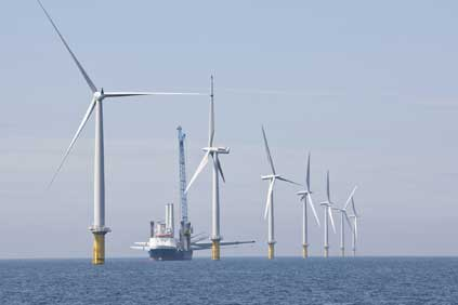 The world's largest offshore wind park, Horns Rev II using 2.3MW Siemens turbines