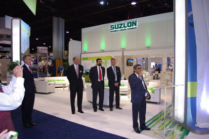Suzlon chairman Tulsi Tanti launches the S111-2.1MW at AWEA's 2012 conference