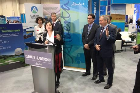 Alberta environment minister Shannon Phillips speaks to media at CANWEA 2016