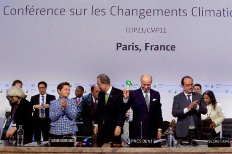 French foreign minister Laurent Fabius brings down the gavel as 195 representatives approve climate agreement