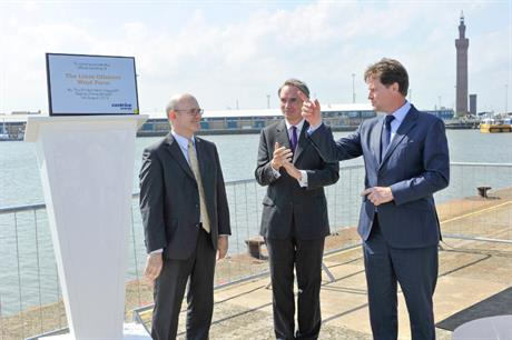 UK deputy prime minister Nick Clegg opening Lincs wind farm