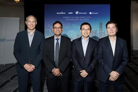 From left to right: Craig McNeil, Managing Director, Global IoT Lead, Accenture; Dipesh Patel, President, IoT Services Group, ARM; Lei Zhang, CEO, Envision Energy; and Alain Crozier, CEO, Microsoft Greater China Region (Photo: Noah Berger / Envision)