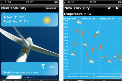 The Vestas Weather iPhone app