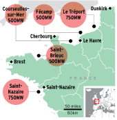 France's five offshore wind-development zones