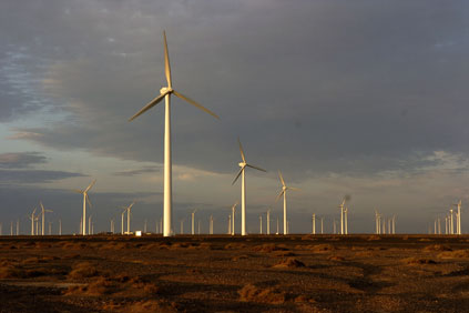 The Jiuquan wind power base, located in north west China's Gansu Province