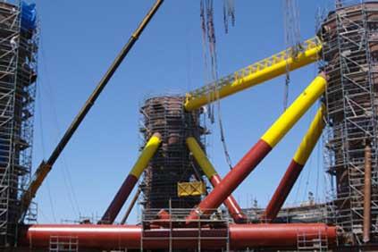 The WindFloat platform under construction