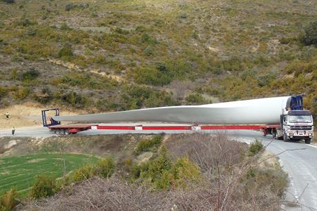 The blade for Gamesa's G132-5MW being transported to the site