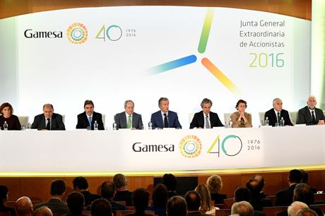 Gamesa shareholder approved the merger at an extraordinary general meeting in Spain