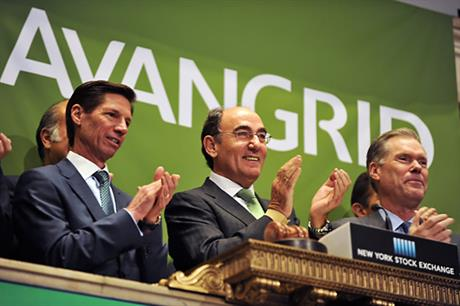 James Torgerson, CEO of Avangrid (left), and Ignacio Galan, chairman of Iberdrola Group (centre), ring the opening bell at the New York Stock Exchange