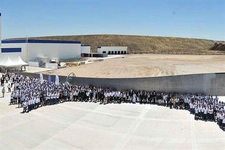 Employees at the opening of LM Wind Power's new blade plant in Turkey