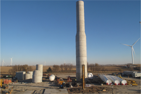 Turbines at MidAmerican Energy's Adams project were installed on concrete towers