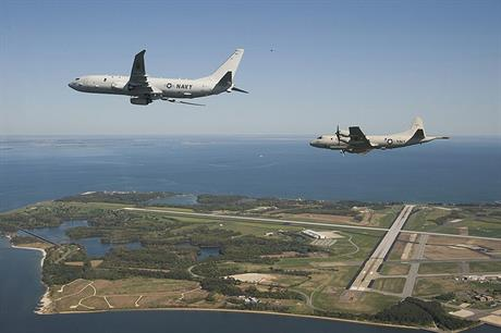 Two US navy planes fly over Patuxent River naval air station