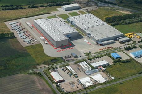 Nordex's blade plant in Rostock showing the planned new hall