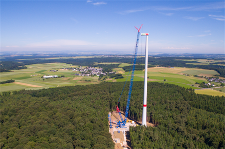 The Nordex turbine has a hub height of 164 metres, and a tip height close to 230 metres