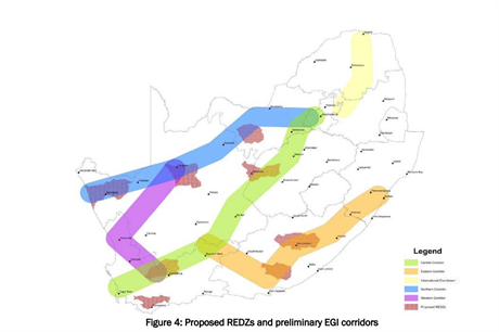 The proposed development zones for renewable energy in South Africa