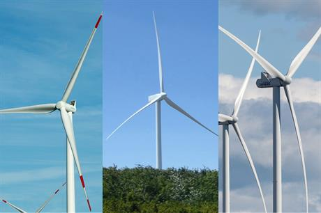 Left to right: Siemens, Gamesa and Vestas turbines — each manufacturer has won a recent order