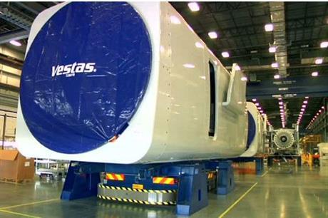 A nacelle at Vestas' Brighton factory in Colorado