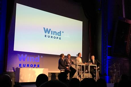 WindEurope CEO Giles Dickson (far right) leads a panel debate in Brussels, Belgium