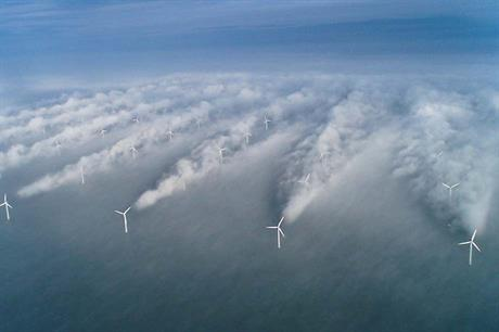A now famous image demonstrating how wake can affect turbines in lines