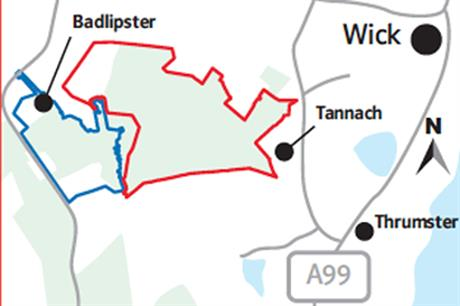 The proposed extension in red next to the current site in blue