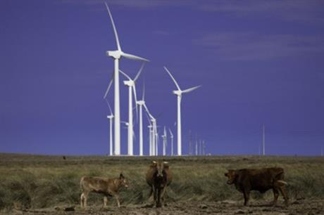 A number of wind farms are concentrated in the Texas Panhandle