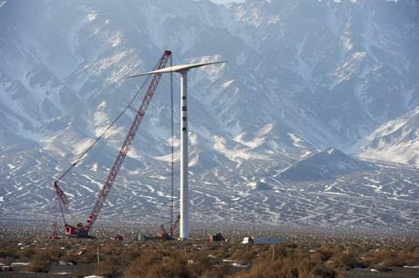 A Ming Yang SCD turbine being installed in northern China